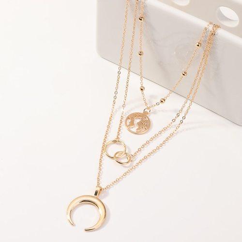 Women's Multi-Layer Necklace Crescent Design Chic Necklace Accessory Fine