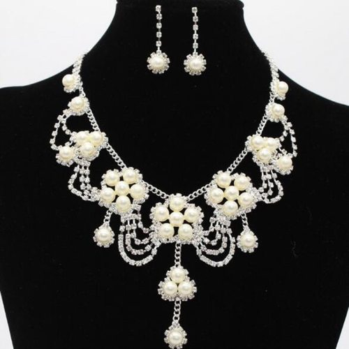 Lucky Doll 3 Pcs Women's Necklace & Earrings Imitation Pearl Fashion Accessory