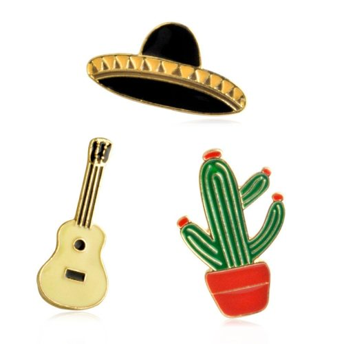3Pcs Women's Pins Cactus Lovely Brooches Cartoon Figure Metal Decoration