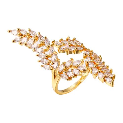 Women's Fashion Ring Creative Zircon Leaf Decor Elegant Flowers Infinite Charming Jewelry Geometric Catenary/Necklace Casual Fine
