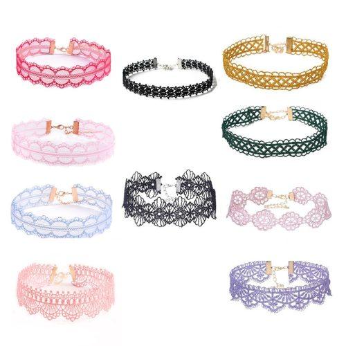 10 Pieces Women's Ribbon Chokers Set Lace Hollow Out Sweet Top Fashion Accessories Main materials: velvet belt Metal Decoration Geometric