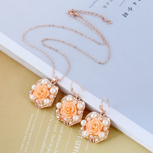 3 Pcs Women's Necklace & Earrings Imitation Pearl Ladylike Casual Pearls Floral Catenary/Necklace Fashion