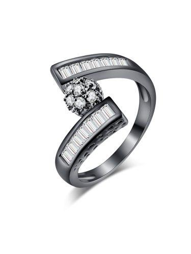 KUNIU Women's Ring Brief Style All Match Elegant Zircon Inlay Faddish Accessory Fashion
