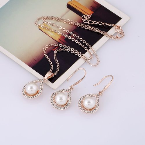 Women's 2Pcs Necklace & Earring Pearl Decor Sweet Ladylike Wedding Gift Jewelry Fashion Catenary/Necklace Top Fashion Geometric Ribbons