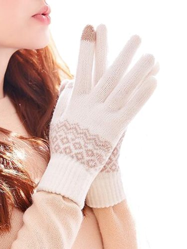 Women's Warm Gloves Elegant Stylish Touchscreen Design Thick Knitting Argyle Hand wash Fashion