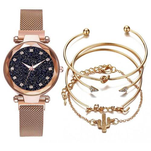 5Pcs Women's Watch & Bracelet Set Stylish Elegant Jewelry Set Stainless Steel Wipe clean Quartz Floral Rhinestone Women's Watches Round Cute Alloy