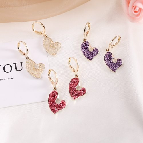 Women's Drop Earrings Fashion Heart Elegant Patchwork Accessory Allergy Free Heart Shape Basic Alloy Inlaid with Artificial Gem/Semiprecious Stone