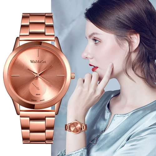 Women's Fashion Watch Business Band Watch Covered Button Wipe clean Pointer Casual Luxury Watches Big Dial Quartz Round Stainless Steel