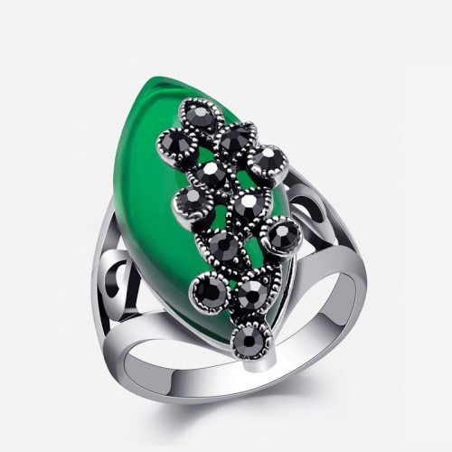 Women's Ring Imitated Gemstone Exaggerated Ring Fashion Vintage Accessory Metal Decoration Geometric