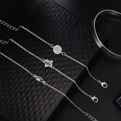 Women's 4 Pieces Bracelets Set Simple Style Chain Casual Crystals Fashion Catenary/Necklace Solid Color