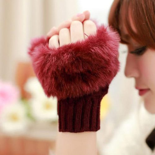 1 Pair Women's Warm Gloves Stylish Half-finger Gloves Feathers Hand wash Touchscreen Casual Checkered