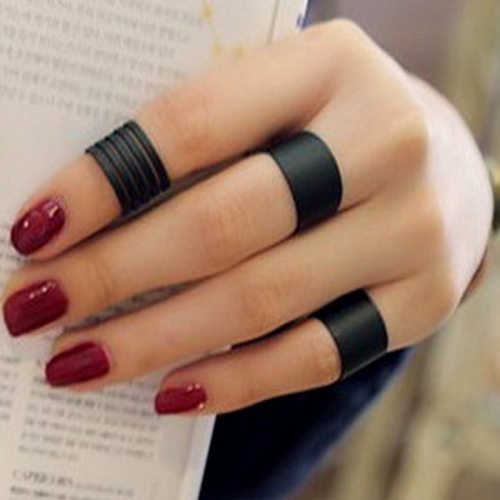 3Pcs Women's Ring Set Personality Design Dull Polish Fashion Solid Color Accessory