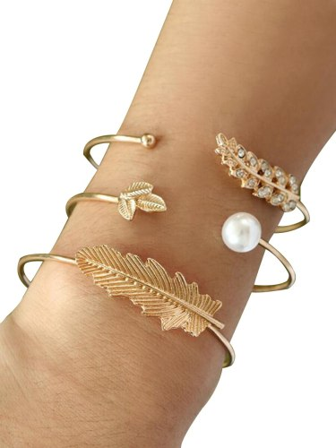 3Pcs Women's Fashion Bracelets Leaf-shape Open Style Bracelets Fine Accessory