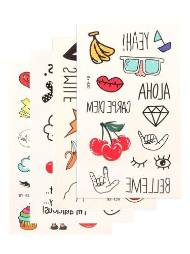 4Pcs Women's Tattoo Stickers Cartoon Pattern Trendy Non-toxic Tattoo Accessory