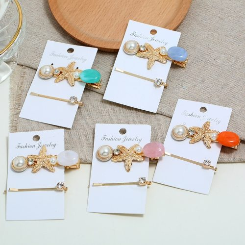 2 Pcs Women's Hair Clips Starfish Ladylike Imitation Pearl Hair Fashion Hair Accessories Wipe clean