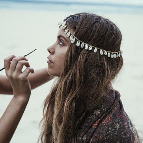 Women's Hair Chain Retro Natural Shell Tassel Design Stylish Hair Chains Fashion