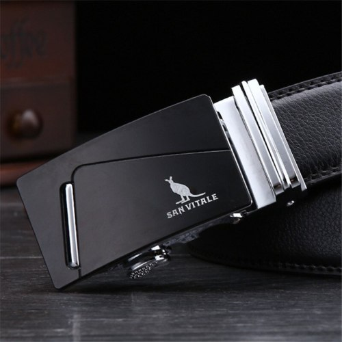 Men's Belt Automatic Buckle Business Metal Decoration Fashion Men's Belts Solid Color Accessory