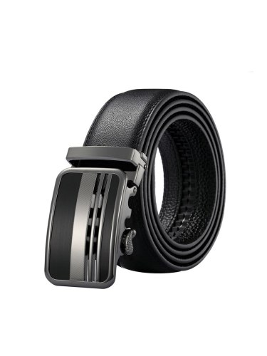 Zaitun Men's Belt Plain Style Stylish Leather Pattern Belt Basic Grandfathers Automatic Buckle Men's Belts Accessory
