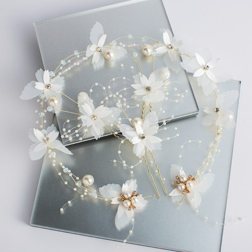 4 Pcs Women's Hair Chain & Hair Clips Set Butterfly Design Wedding Bride Jewelry Fashion Floral