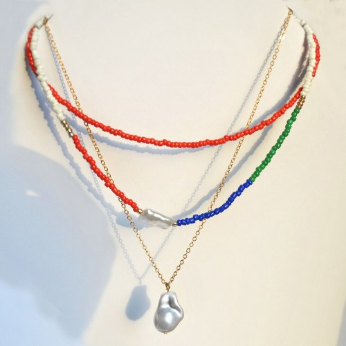 3 Pieces Women's Necklaces Artificial Pearl Color Block Elegant Necklaces Sexy Accessory Candy Color Fashion Pearls SILVERAGE