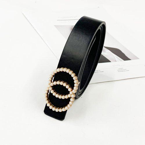 Women's Jeans Belt Simple Imitation Pearl Elegant Others Fashion Geometric Beading Women's Belts One-loop Sweet Normal2-4cm Accessories