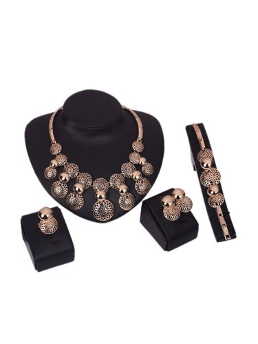 Round Enticing 5 Pieces Jewelry Top Fashion Geometric Hollow out