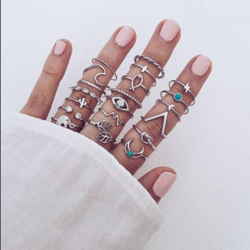 20 Pcs Women's Rings Vintage Creative Fashionable Ring Accessory Metal Decoration Basic Pastoral Animal