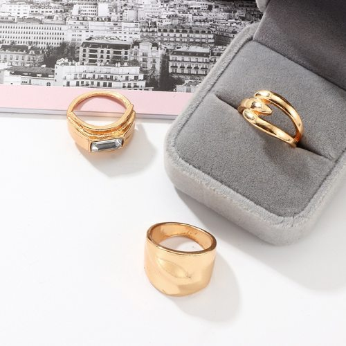 3 Pieces Women's Rings All Match Creative Accessory Fashion Solid Color Rhinestone Top Fashion
