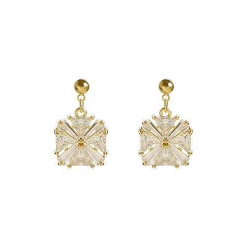 1 Pair Women's Drop Earrings Zircon 925 Sterling Silver Earrings Solid Color Crystals Pastoral Allergy Free Accessories Alloy Inlaid with Artificial