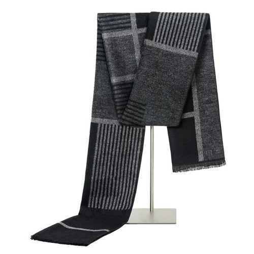 SAN VITALE Men's Scarf Comfy Warm Color Block Tassel Hand wash Winter Scarves Accessory Striped Top Fashion