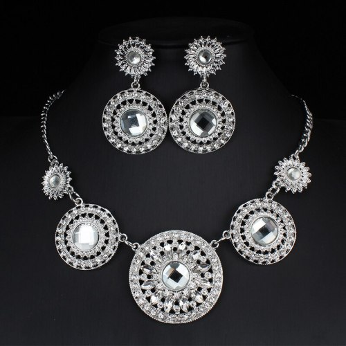 3Pcs Women's Necklace & Earring Set Bride Wedding Pendant Jewelry Set Rhinestone Accessories Sweet Vintage Floral