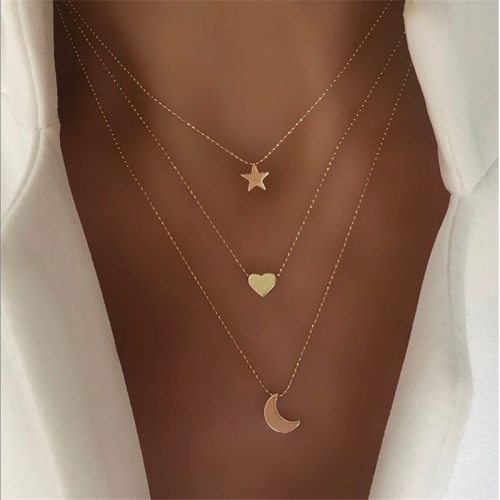 Women's Multi-Layer Necklace Fashion Simple Star Moon Heart Decor All-Match Elegant Vintage Accessories Metal Decoration Sweet Geometric
