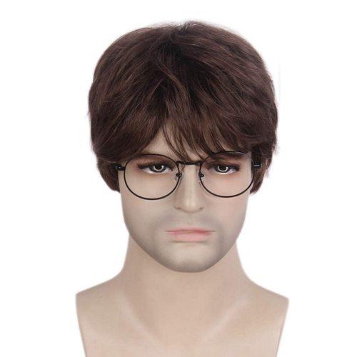 One Piece Men's Wig Fashionable Chemical Fiber Micro Curly Hand wash Short Hair Cartoon Basic