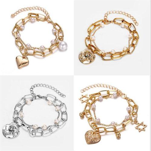 1 Piece Women's Fashion Bracelet Stylish Heart Pattern Bracelet Geometric Accessory Pearls Fine