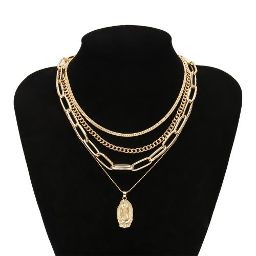Women's Multi-Layer Necklace Retro Simple Personality Pastoral Accessories Geometric Carving Fine