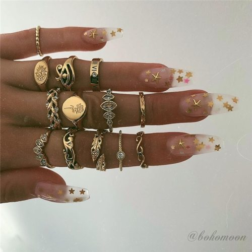 Women's 13 Pieces Rings Set Style All Match Metal Decoration Basic Geometric Accessory Vintage