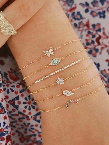 6Pcs Women's Bracelet Set Flower Butterfly Leaf Design Ladylike Chic Catenary/Necklace Basic