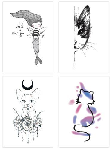 4 Pcs Women's Tatoo Sticker Set High Quality Lovable Cat Pattern All Match Animal Other Sweatproof
