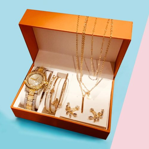 8 Pieces Women's Bracelet & Necklace & Ear Stud & Watch Set Fashion Crown Rhinestone Gift Geometric Sequins Pastoral Jewelry Gift Box 7-10Pcs