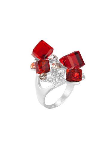 KUNIU Women's Ring Rhinestone Decorative Color Block Faddish Accessories Fine