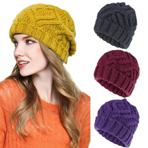 One Piece Women's Beanie Chic Knitted Pure Color Hat Machine Sewing Thread Plaid Sexy Accessories Machine wash Spring/Autumn Skullies & Beanies