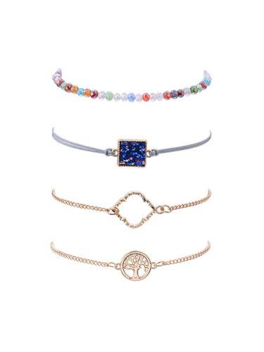 Women's Bracelets Set Simple Chic Colorful Beads Life Tree Design Bracelets Fashion Catenary/Necklace Vintage