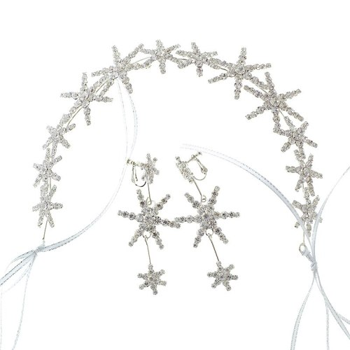 2 Pcs Women's Hairband & Earrings Set Wedding Bride Star Design Hair Jewelry Accessory