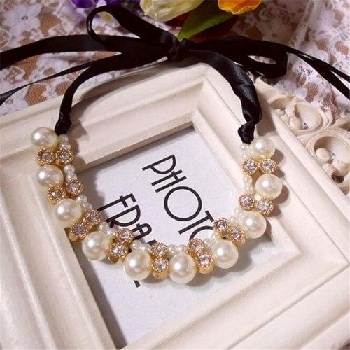Women's Ribbon Choker Luxury Pearl Rhinestone Decor Stylish Accessory Fashion