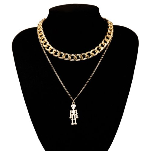 Women's Multi-Layer Necklace Skeleton Pendant Personality Accessories Hollow out OL Geometric Fine