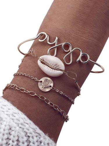 4Pcs Women's Bracelets Set Simple Design Shell Letter Design Fashion Accessory Vintage