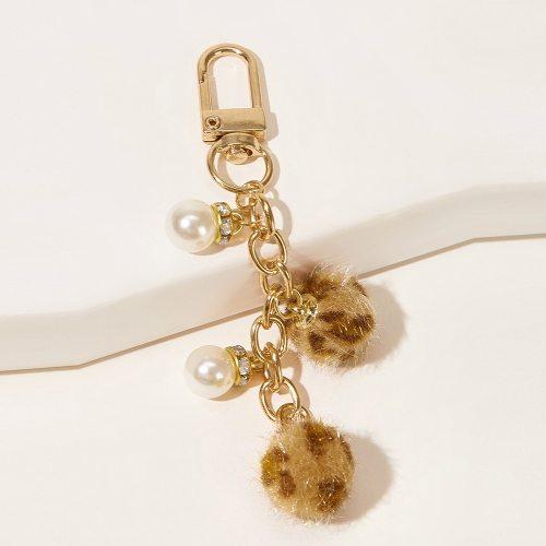 Men's Key Ring Fashion Simple Imitation Pearl Decor Creative Celebrity Pearls
