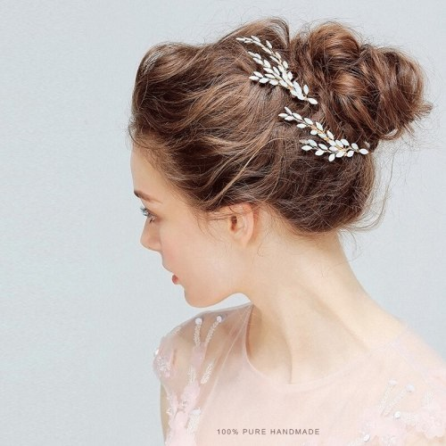 1Pc Women's Hair Clip Exquisite Wedding Leaf-shape Decor Hair Fine Wipe clean Hair Accessories