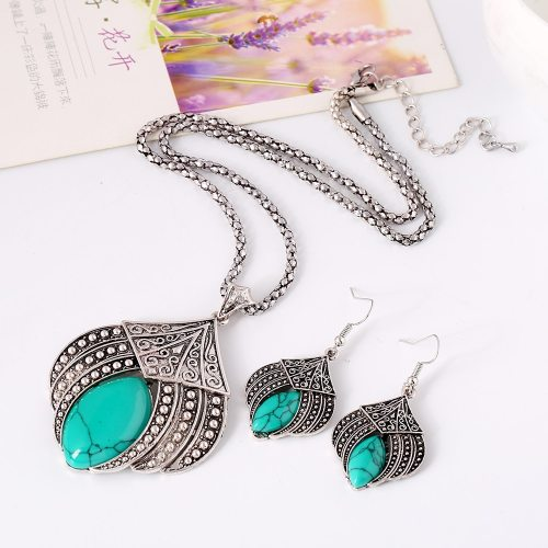 3 Pcs Women's Necklace & Earrings Creative Retro Imitated Gemstone Accessory Vintage Geometric Embroidery
