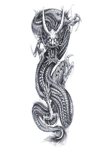 Men's Tattoo Sticker Full Arm Dragon Pattern Simulation Tattoo Accessory
